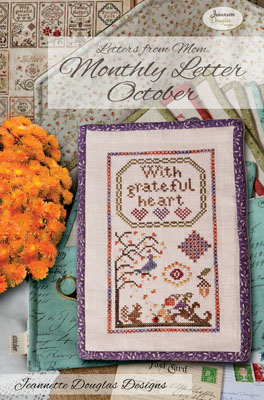 Jeannette Douglas Designs - Letters From Mom 3 - October-Jeannette Douglas Designs - Letters From Mom 3 - October, fall, squirrel, leaves, grateful, cross stitch