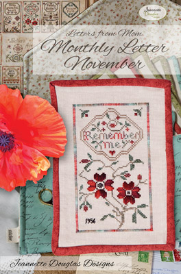 Jeannette Douglas Designs - Letters From Mom 4 - November-Jeannette Douglas Designs - Letters From Mom 4 - November, remembrance, poppy, flowers, love, mothers, cross stitch