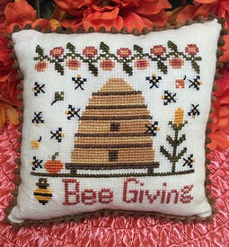 Needle Bling Designs - Bee Giving-Needle Bling Designs - Bee Giving, Thanksgiving,  bee hive, bees, pillow, cross stitch