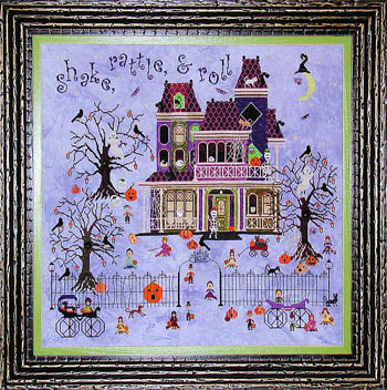 Praiseworthy Stitches - Mr. Bones Starlight Ballroom-Praiseworthy Stitches - Mr. Bones Starlight Ballroom, haunted house, dancing, Halloween party, pumpkins, moon, black cats, ghosts, cross stitch