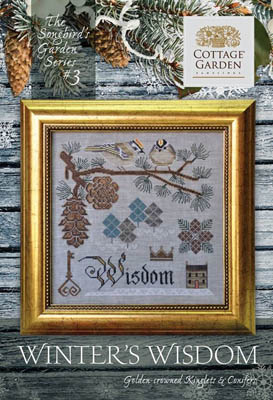 Cottage Garden Samplings - Songbird's Garden Part 3 - Winter's Wisdom-Cottage Garden Samplings - Songbirds Garden Part 3 - Winters Wisdom, birds. pine cone, pine tree, cross stitch