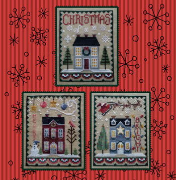 Waxing Moon Designs - Christmas House Trio-Waxing Moon Designs - Christmas House Trio, snow, houses, snowman, Santa Claus, Rudolph, cross stitch