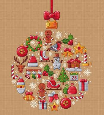 Les Petites Croix De Lucie - Boule De Noel-Les Petites Croix De Lucie - Boule De Noel, Christmas, decorations, ornaments, cross stitch