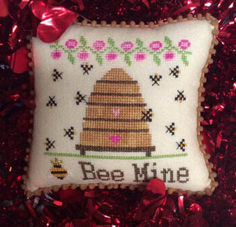 Needle Bling Designs - Bee Mine-Needle Bling Designs - Bee Mine, love, sweetheart, Valentines Day, cross stitch, beehive, bee