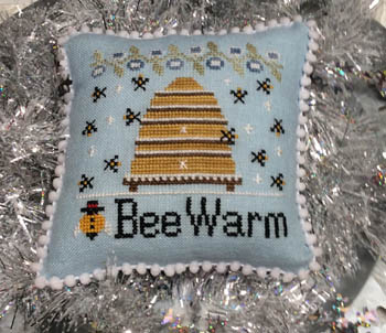 Needle Bling Designs - Bee Warm-Needle Bling Designs - Bee Warm, winter, snow, bee hive, honey, cross stitch