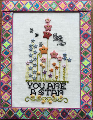 Rosewood Manor - A Star-Rosewood Manor - A Star, flowers, stars, cross stitch