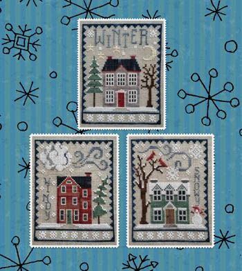 Waxing Moon Designs - Winter House Trio-Waxing Moon Designs - Winter House Trio, snow, houses, cross stitch, winter