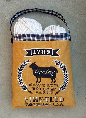 Carriage House Samplings - Sheep Feed Sack-Carriage House Samplings - Sheep Feed Sack, Hawk Run Hollow Farm, lamb, sheep, cross stitch