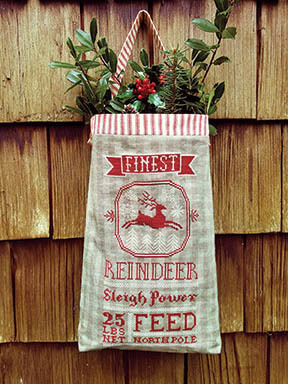 Carriage House Samplings - Reindeer Feed Sack-Carriage House Samplings - Reindeer Feed Sack, reindeer food, Santas reindeer, Christmas, cross stitch