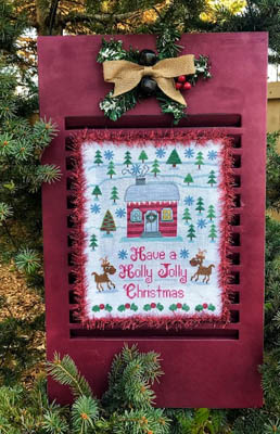 Pickle Barrel Designs - Holly Jolly Christmas-Pickle Barrel Designs - Holly Jolly Christmas. reindeer, Christmas, house, winter, snow, cross stitch