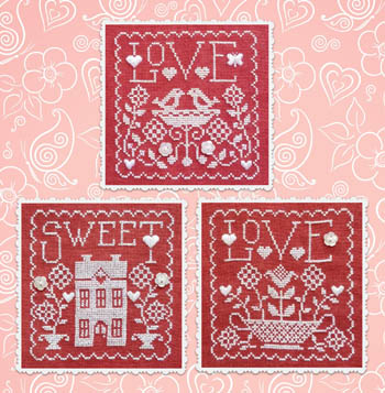Waxing Moon Designs - Trio - Love Sweet Love-Waxing Moon Designs - Trio - Love Sweet Love,home, love birds, flowers, red  white, cross stitch