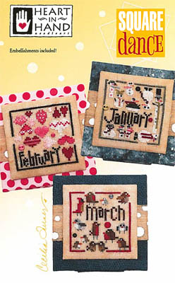 Heart in Hand Needleart - Square Dance (January - March)-Heart in Hand Needleart - Square Dance January - March, calendar months,