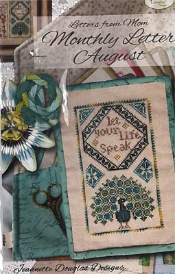 Jeannette Douglas Designs - Letters From Mom 13 - August-Jeannette Douglas Designs - Letters From Mom 13 - August, peacock, blessed, letters, mom, cross stitch