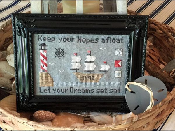 Needle Bling Designs - Hopes & Dreams-Needle Bling Designs - Hopes  Dreams, hopeful, positive, dreams, sailing, ocean, healing, cross stitch
