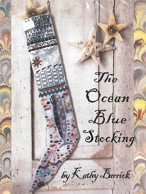 Kathy Barrick - Ocean Blue Stocking-Kathy Barrick - Ocean Blue Stocking, whale, ship, mermaid, octopus, fishes, sun, cross stitch