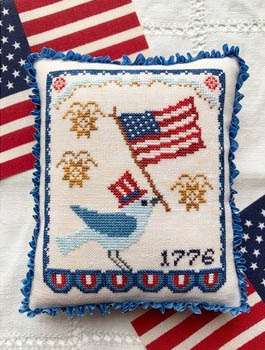 Luminous Fiber Arts - Bluebird's Salute-Luminous Fiber Arts - Bluebirds Salute, USA, patriotic, birds, American flag, cross stitch