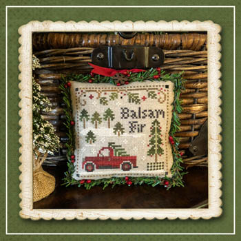 Little House Needleworks - Jack Frost's Tree Farm - Part 4 Balsam Fir-Little House Needleworks - Jack Frosts Tree Farm - Part 4 Balsam Fir, Christmas tree, tree lot, red truck, winter, cross stitch