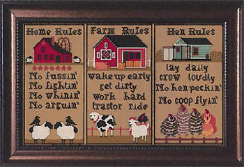 Twin Peak Primitives - Do's and Don'ts-Twin Peak Primitives - Dos and Donts, farm, Home, rules, farm rules, hen rules, cross stitch, animals,