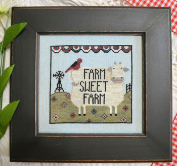 Annie Beez Folk Art - Farm Sweet Farm-Annie Beez Folk Art - Farm Sweet Farm,cow, red bird, windmill, quilt, field, cross stitch