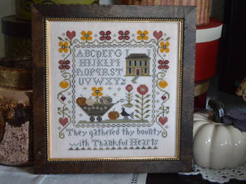 Abby Rose Designs - Thankful Hearts-Abby Rose Designs - Thankful Hearts, Fall, autumn, Thanksgiving, harvest, flowers, pumpkins, cross stitch