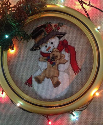 Twin Peak Primitives - Snowman and Teddy Bear-Twin Peak Primitives - Snowman and Teddy Bear, friends, winter, ornament, cross stitch