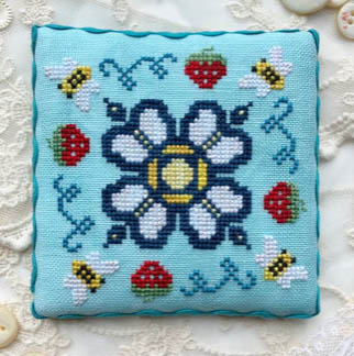 Luminous Fiber Arts - Berry Buzz-Luminous Fiber Arts - Berry Buzz, bees, flowers, pin cushion, cross stitch