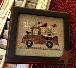 Homespun Elegance - Country Spirits Collection - An All American Truck-Homespun Elegance - Country Spirits Collection - An All American Truck, pick-up truck, American fag, flowers, USA, patriotic, cross stitch