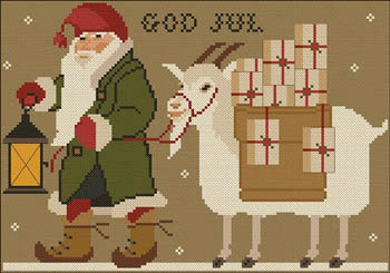 Twin Peak Primitives - Christmas Tomten-Twin Peak Primitives - Christmas Tomten, Swedish traditions, Christmas, gnome, cross stitch