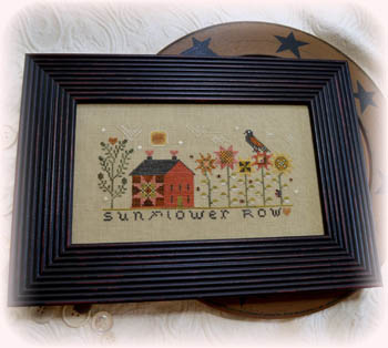 Annie Beez Folk Art - Sunflower Row-Annie Beez Folk Art - Sunflower Row, flowers, crow, fall, quilt, farmhouse, sunflower, cross stitch