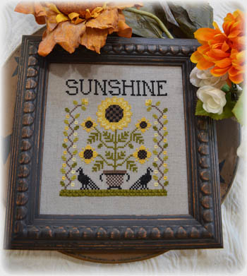 Annie Beez Folk Art - Sunshine-Annie Beez Folk Art - Sunshine, sunflower, fall, autumn, crows, flowers, cross stitch