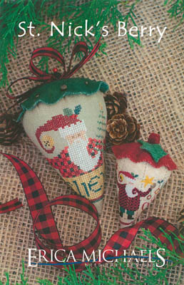 Erica Michaels Designs - St. Nick's Berry - Linen-Erica Michaels Designs - St. Nicks Berry - Linen, Santa Claus, berry, Christmas, pin cushion, cross stitch
