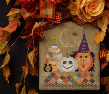 Cross-Eyed Cricket - A Wicked Patch-Cross-Eyed Cricket - A Wicked Patch, fall, Halloween, witch, pumpkin, spider, fall leaves, cross stitch
