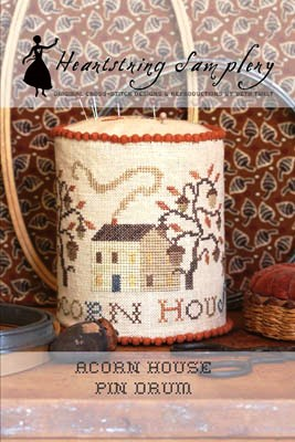 Heartstring Samplery - Acorn House Pin Drum-Acorn House Pin Drum , fall, autumn, house, cross stitch