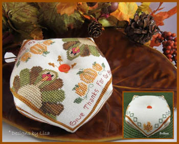 Designs by Lisa - Turkey Biscornu-Designs by Lisa - Turkey Biscornu, Fall, turkeys, autumn, cross stitch, pin cushion,