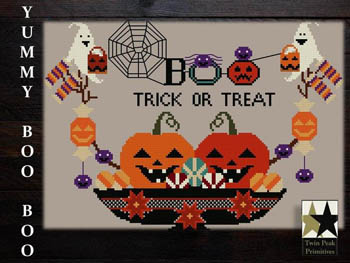 Twin Peak Primitives - Yummy Boo Boo-Twin Peak Primitives - Yummy Boo Boo, Halloween, pumpkins, trick or treat, fall, cross stitch