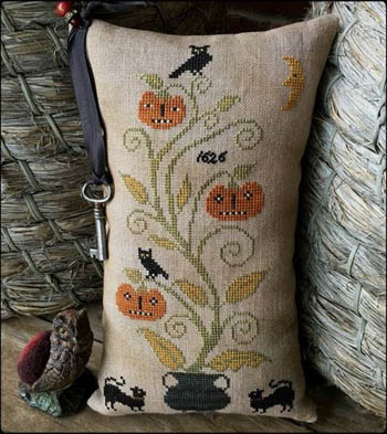 Scattered Seed Samplers - Night Watch 1626-Scattered Seed Samplers - Night Watch 1626, pumpkins, crow, Halloween, fall, cross stitch