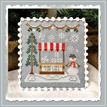 Country Cottage Needleworks - Snow Village 3 - Snowflake Stand-Country Cottage Needleworks - Snow Village 3 - Snowflake Stand,  winter, snowman, snow, pine tree, cross stitch