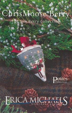 Erica Michaels Designs - ChrisMoose Berry - Silk- Erica Michaels Designs - ChrisMoose Berry - Silk, Christmas, Moose, trees, stars, ornament, cross stitch