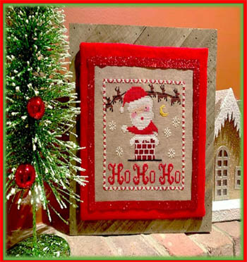 Pickle Barrel Designs - Ho Ho Ho-Pickle Barrel Designs - Ho Ho Ho, Santa Claus, Christmas Eve, chimney, reindeer, gifts, cross stitch