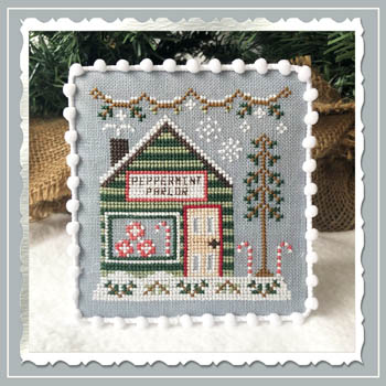 Country Cottage Needleworks - Snow Village 4 - Peppermint Parlor-Country Cottage Needleworks - Snow Village 4 - Peppermint Parlor, candy store,  snow, village, cross stitch, Christmas, candy