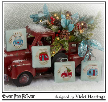 Cross-Eyed Cricket - Over the River-Cross-Eyed Cricket - Over the River, ornaments, Christmas, cars, trailer, red truck, cars, Christmas trees, cross stitch