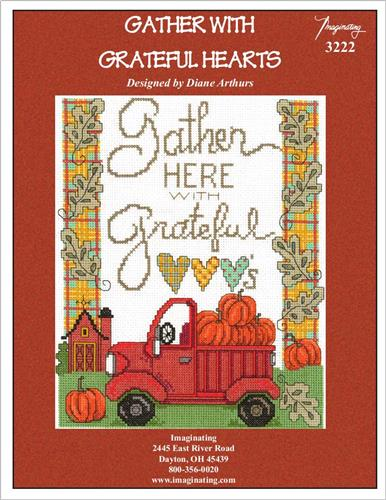 Imaginating - Gather with Grateful Hearts-Imaginating - Gather with Grateful Hearts, Thanksgiving, thankful, fall, pumpkins, old red truck, cross stitch