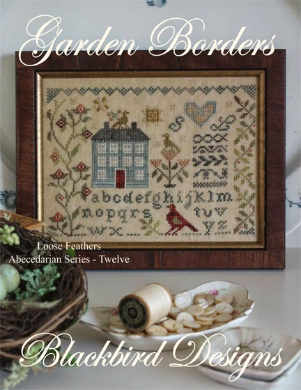 Blackbird Designs - Loose Feathers - Abecedarian Series - Part 12 - Garden Borders-Blackbird Designs - Loose Feathers - Abecedarian Series - Part 12 of 12 - Garden Borders, house, flowers, sampler,