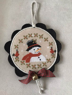 Twin Peak Primitives - Snowman Enjoy-Twin Peak Primitives - Snowman Enjoy, snow, winter, Cardinal, ornament, Christmas, cross stitch