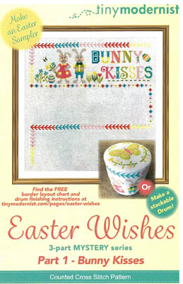 Tiny Modernist - Easter Wishes - Part 1 Bunny Kisses-Tiny Modernist - Easter Wishes - Part 1 Bunny Kisses, rabbits, Easter egg, easter egg hunt, bunnies, spring, cross stitch
