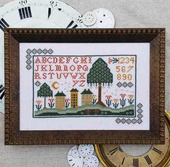 Hello From Liz Mathews - Night Time In Old Town-Hello From Liz Mathews - Night Time In Old Town, houses, flowers, sampler, cross stitch