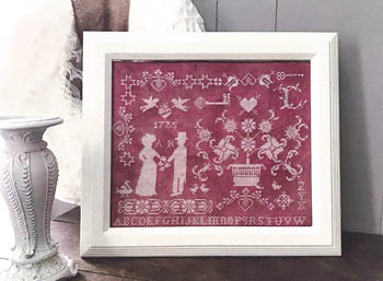 Twin Peak Primitives - Lovers-Twin Peak Primitives - Lovers, Valentines Day, love, romance, lovers, cross stitch, Sampler,