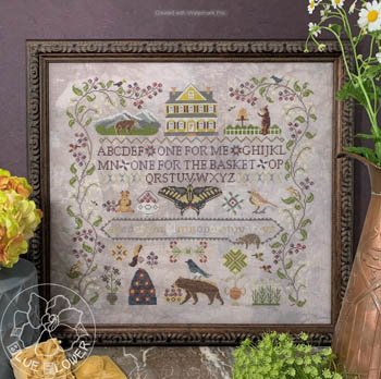 The Blue Flower - Huckleberry Farm-The Blue Flower - Huckleberry Farm, bees, flowers, butterfly, sampler, berries, cross stitch