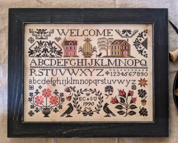 Lila's Studio - A Quaker Welcome-Lilas Studio - A Quaker Welcome, sampler, homes, blackbirds, cross stitch