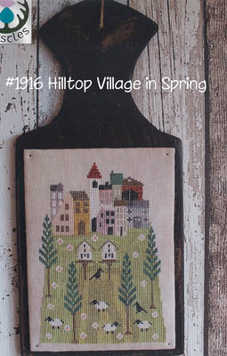 Thistles - Hilltop Village in Spring-Thistles - Hilltop Village in Spring, houses, sheep, pine trees, home, cross stitch